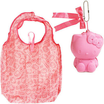 New Sanrio Hello Kitty Silicon Pouch Case with Eco Tote Bag Pink Japan Toy F/S