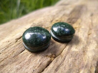JADE CABOCHON PAIR w/ groove 12mm, macrame wire wrap untreated stone green round