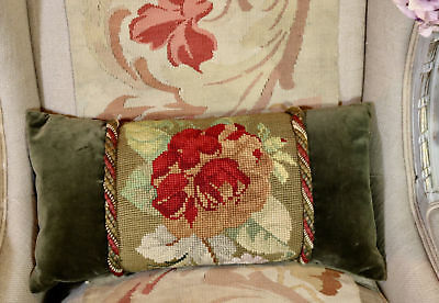 Lovely Antique Victorian Pillow Floral Tapestry Cushion