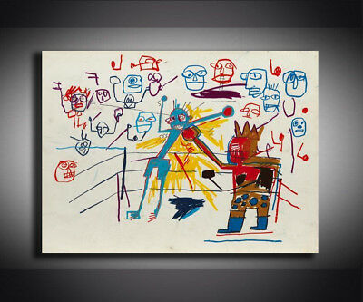 """Jean Michel Basquiat """"Boxing ring 1981"""" HD print on canvas wall picture 36x24"""""""