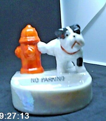 Occupied Japan Porcelain Bulldog Pees on Fire Hydrant  No Parking Dog dish