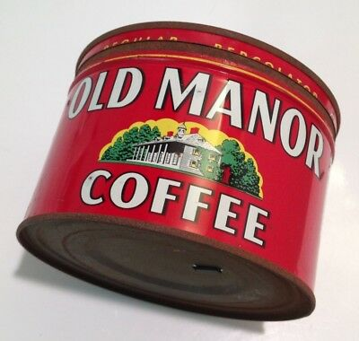 RARE Vintage Old Manor Coffee Tin Can 1LB with Lid Glendale California CA HTF