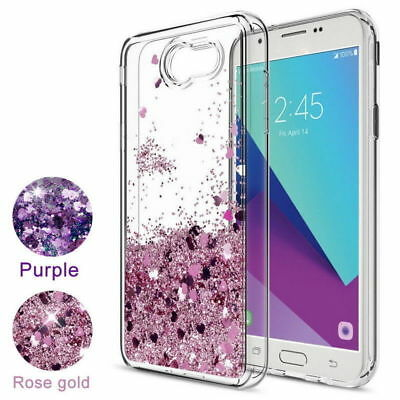 For Samsung Galaxy J5 J7 Prime Case Glitter Liquid Quicksand Clear Soft Cover