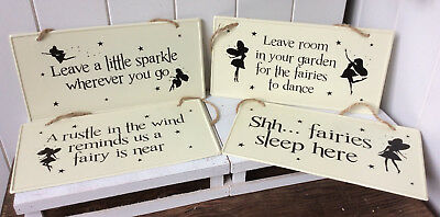 Cream/Black Metal Fairy Garden/House Signs with Jute String - 4 Sayings 25x13cm