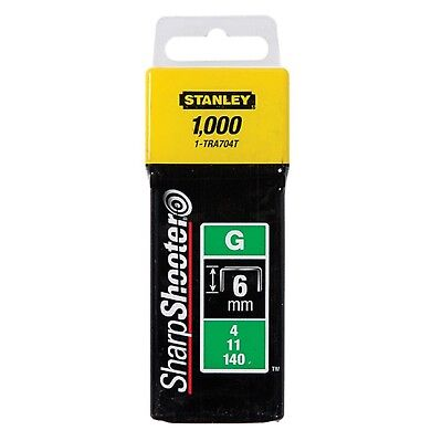 Stanley 1000 Pack SharpShooter TRA704T Type G Heavy Duty Staples 6mm