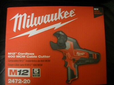 Milwaukee 2472-20 M12™ 600 MCM Cordless Cable Cutter NEW