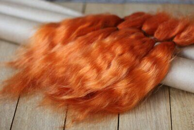 "Mohair Doll Hair Combed locks fiery redhea 8-12"" in 0.35 oz angora organic"