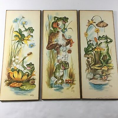 Vintage Coby Frog Bathroom Pictures Wall Hangings Set of 3 Mushrooms Lilly Pads