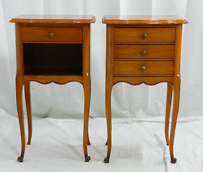 Pair Bedside Tables French Vintage Louis Nightstands Side Cabinets
