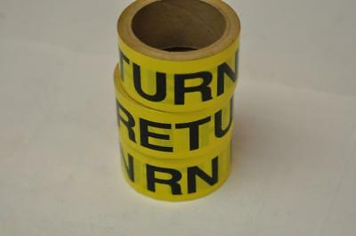 (3) Rolls Seton MSI Pipe Marker Labels RETURN Yellow Steam Punk FAST! D3
