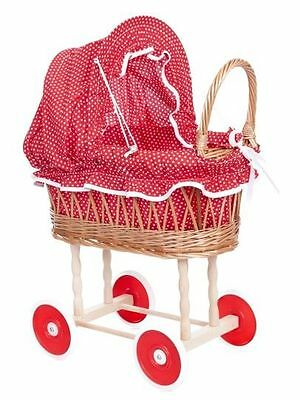 Egmont Toy Wicker Cane Dolls Pram With Folding Red & White Dots Canopy Brand New