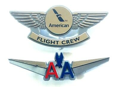 American Airlines Vintage Pilot Wing Pin + New Flight Crew Pin