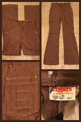 1970s NWT Vintage DEE CEE Pants Jeans Hippy Rocker Bell Bottom Brown Sz 12