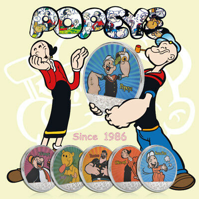 WR Silver Popeye & Friends Colorized 6-Coin Set Sailor Man Cartoon Gifts 4 Child