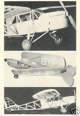 """Model Airplane Plans (FF): DH-80 Puss Moth 1/8 Scale 52"""" for .09ci (1.5cc)"""