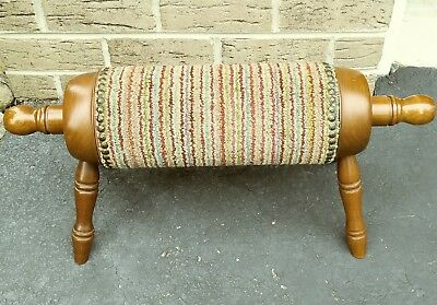 Vintage Wood & Fabric Foot Stool Foot Rest Rolling Pin Style Gout Relief