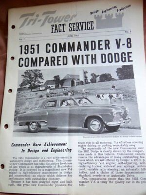 1951 Studebaker Tri-Tower Fact Service Commander Compared to Dodge
