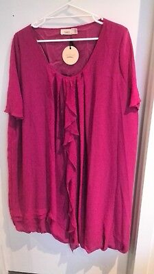 Plus size 18 20 Eplisse Taking Shape pink chiffon party dress with sleeves NEW