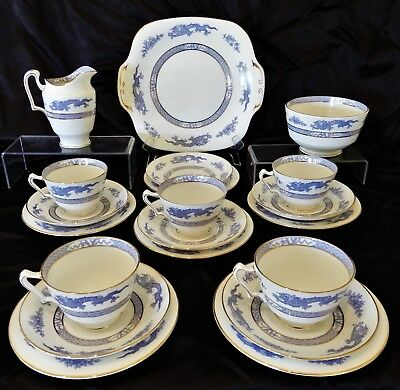 Art Deco Crown Staffordshire Bone China Tea Set 1930's,Dragon, F12713, RN 630163