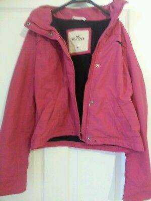 "Hollister Girls Pink Hooded Cotton Blend Coat Size Medium (To fit 55""-57"")"