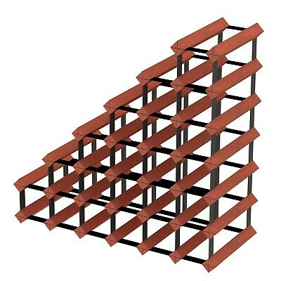 Sloped Staircase Timber Wine Rack - Dark Mahogany - Holds 27 Bottles of Wine