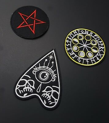 Goth Punk Iron-On/Sew-On Embroidered Patch, Black, Occult, Witchy, Wiccan Pagan