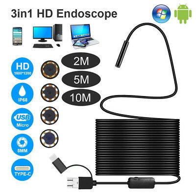3in1 8 LED USB Endoscope Inspection Camera 1200P HD Borescope For Android Phone