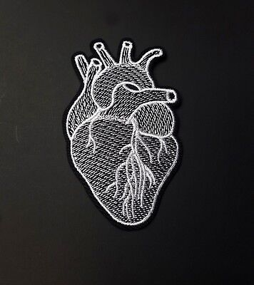 Black & White Anatomical Heart Iron-On/Sew-On Embroidered Patch Applique