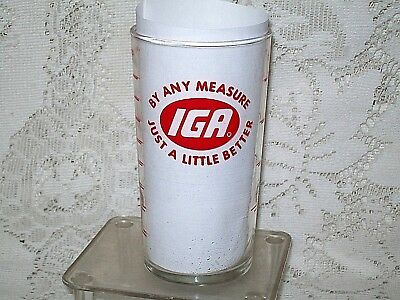 VINTAGE IGA GROCERY STORE PROMO MEASURING GLASS PIGGLY WIGGLY? 8 oz PYREX? NOS