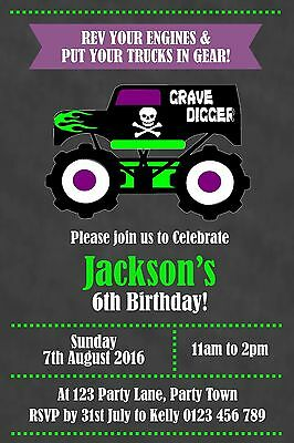 Monster jam invitation monster jam party printables monster truck personalised monster truck grave digger birthday party invitation you print filmwisefo