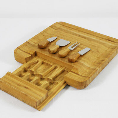 NEW Coming Stanley Rogers Wooden Bamboo Cheese Board 5 Pc Knives Set