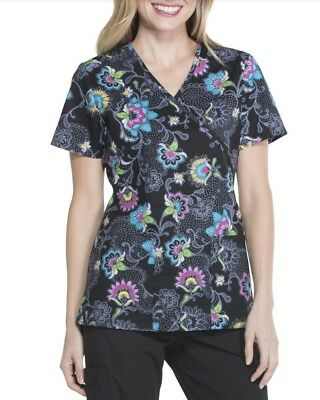 SCRUBSTAR Fashion Collection Women's Mock Wrap Printed Scrub Top Sizes XS-XL