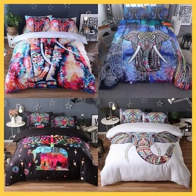 Elephant Duvet Doona Quilt Cover Set Mandala Bedding Set Queen King Size Bed 3Pc