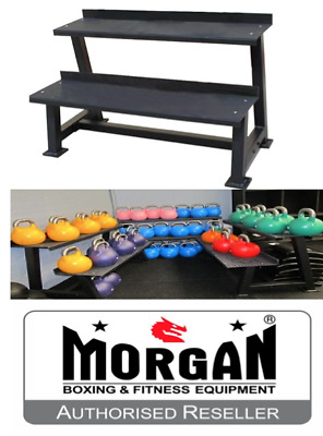 2 Tier Kettle Bell Rack Storage Kettlebell Commercial Steel Stand Layer Crossfit