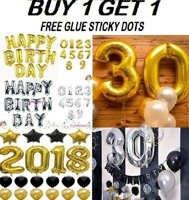 """Gold & Silver 32"""" Inch Large Letter Number Self-inflating Foil Balloon Custom"""
