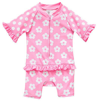 NWT Target Girls Pink Floral Unitard Swimsuit UVF 50 + Size 00 3-6 Months