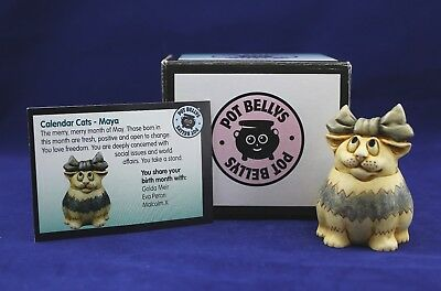 Harmony Kingdom Figurine Ball Pot Bellys MAYA CALENDAR CAT PBCMAY 2001 W/Box