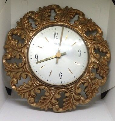 Smiths Sunburst wall clock - Gilt Wood Case - Mid Century - Suntella