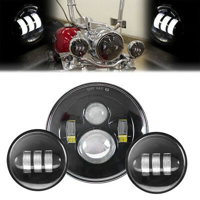 """7"""" LED Projector Headlight + Pair 4.5"""" Passing Fog Lights For Harley Touring"""