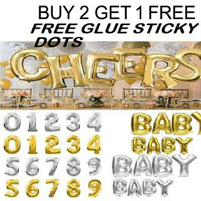 """Gold/Silver Color 30"""" Inch Letter Alphabet Or Number Self-Inflating Foil Balloon"""