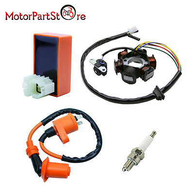 Magneto Stator Racing Ignition Coil CDI Spark Plug for GY6 49 50cc Scooter Moped
