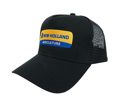 New Holland Trucker Style Large Size Black Twill Cap With Black Mesh Back Nwt