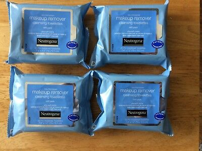4 X Neutrogena Makeup Remover Clensing Towelettes ** 4 X 25 Packs** Cheap**