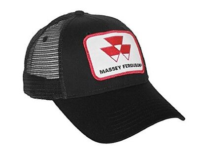Massey Ferguson Black Logo Cap With Black Mesh Back