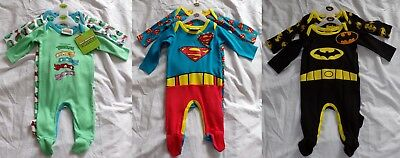 Pack of 2 Babygrows Batman Superman Teenage Mutant Ninja Turtles TMNT Babies New
