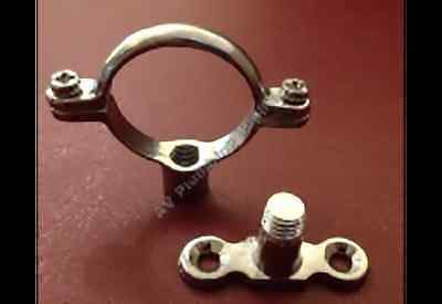 Qty 10 x 15mm Chrome Plated Brass Single Munsen Ring & Backplate - Pipe Fixing