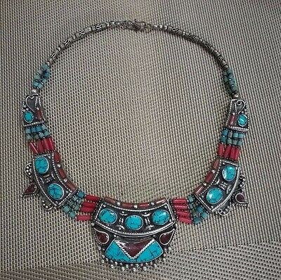noble MIAO SILVER OLD INLAY turquoise coral CLOISONNE FLOWER HAND necklace