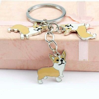 NEW PET Key Chain Corgi Dog Figure Dogs Key Ring Shape Lovely Keychain Keyring