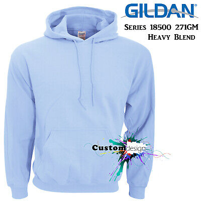 Gildan Light Blue Hoodie Heavy Blend Blank Plain Hooded Sweat Mens Pullover