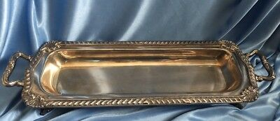 Vintage Ornate Silver on Copper Footed Twin Handled Tray